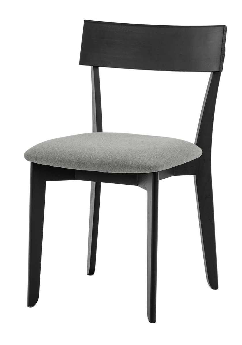856 dining chair, ash black, textile virgin dustgrey 1
