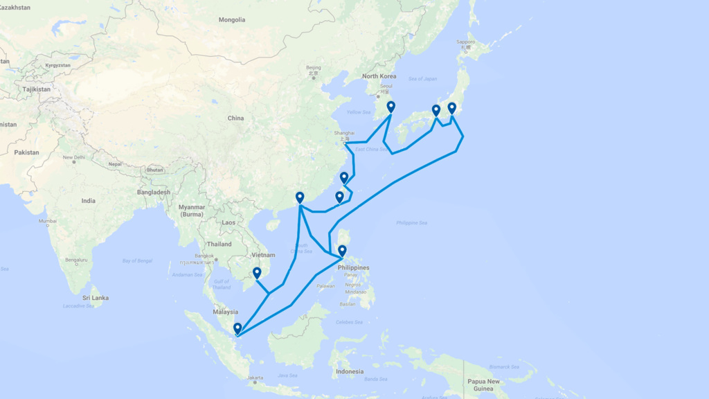 East Asia Crossing & C2C cable system map (EAC-C2C)
