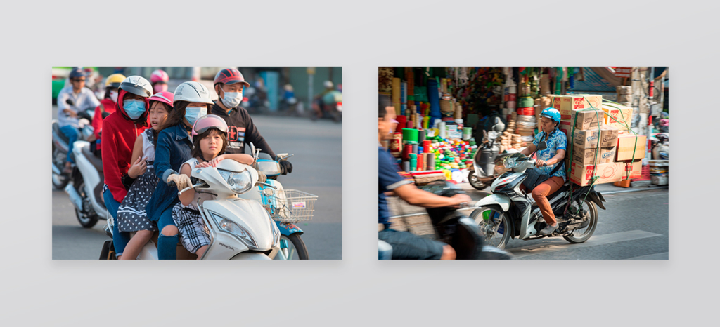 Vietnamese people driving motorbike