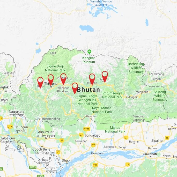 bhutan-cycling-tour-a-journey-from-west-to-east-map